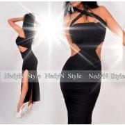 NedyN fekete oldalán nyitott fekete maxi ruha