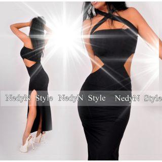 NedyN oldalt nyitott fekete maxi ruha