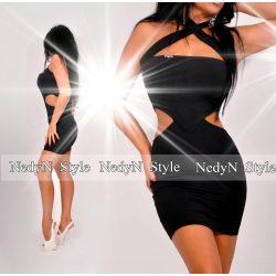 NedyN oldalán nyitott fekete mini ruha viszkóz