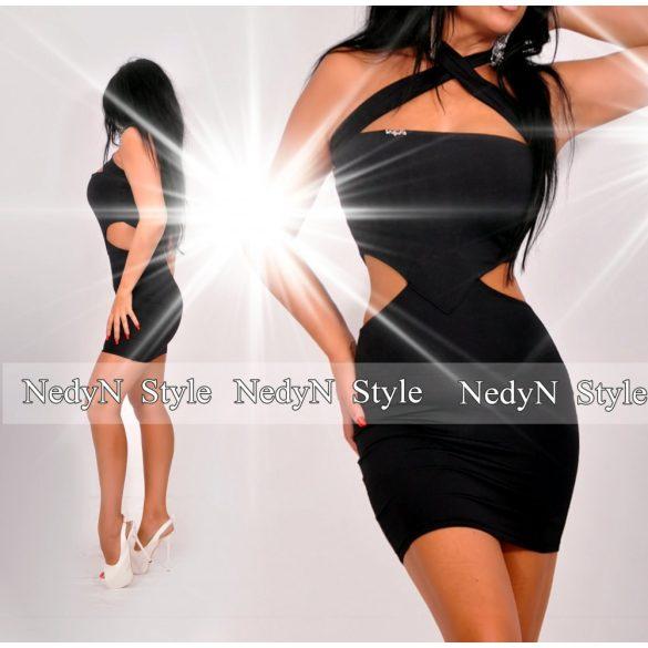 NedyN oldalán nyitott fekete mini ruha - AdryFashion női ruha webáruház 9f9b1128ae
