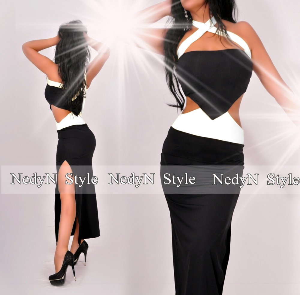 94315b6f80ce NedyN oldalán nyitott fekete - fehér női ruha - AdryFashion női ruha ...
