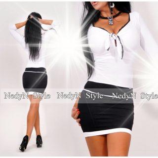 NedyN elegáns mellénél megkötős fekete-fehér ruha