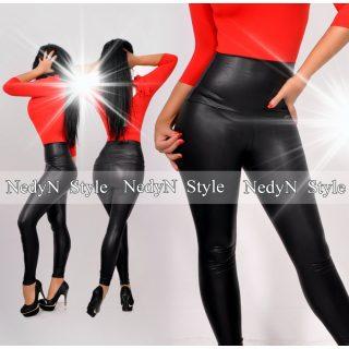 NedyN fekete bőrhatású magas derekú legging