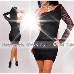 NedyN alkalmi féloldalas fekete női csipke ruha