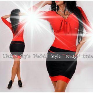 NedyN piros fekete mellénél megkötős poliamid női ruha