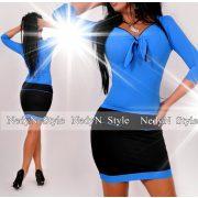NedyN kék poliamid mellénél megkötős női ruha