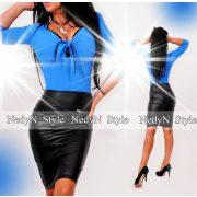 NedyN mellénél megkötős csipkés női felső kék színű