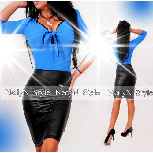 NedyN kék mellénél megkötős csipkés női felső kék színű