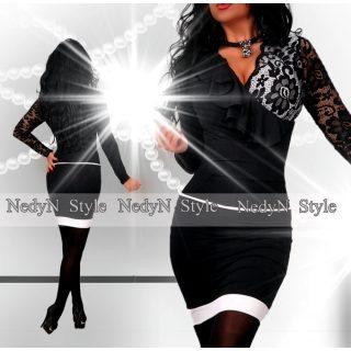 NedyN átlapolt fodros csipke díszes női ruha fekete-fehér