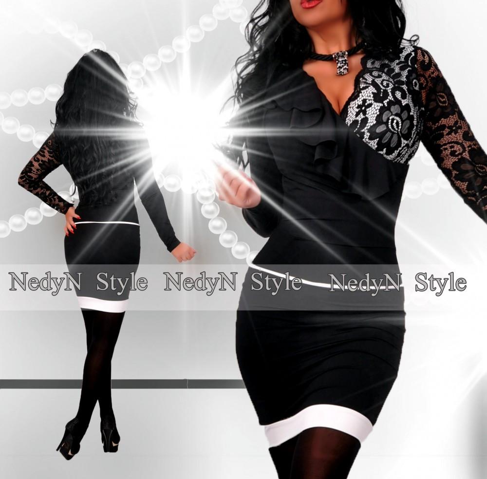 d012f18364 NedyN átlapolt fodros csipke díszes női ruha fekete-fehér ...