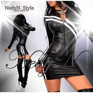 NedyN fekete bőrhatású ruha fehér pánt dísszel