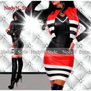 NedyN műbőr csíkos  piros-fekete kétrészes blézer és szoknya szett - felső nélkül