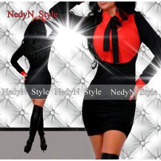 NedyN nyakánál megköthető piros fekete galléros pingvin női ruha