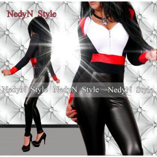 NedyN fekete fehér piros elegáns cipzáros női felső