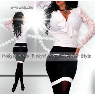 NedyN fodros fekete fehér átlapolt csipkebetétes női ruha