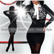 NedyN fehér alapon fekete csipkés oldalán húzott női ruha fehér megkötővel