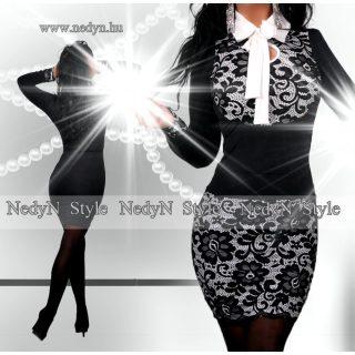 NedyN alkalmi fehér alapon fekete csipkés 2 részes felső és szoknya szett