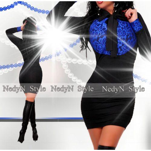 NedyN galléros kék csipkebetétes oldalán húzott női ruha megkötővel
