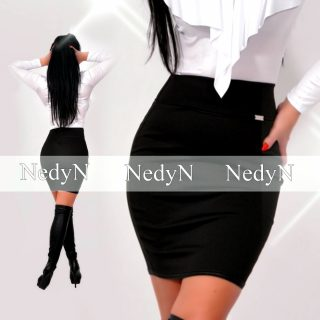 NedyN fekete punto női szoknya bőrhatású szegővel