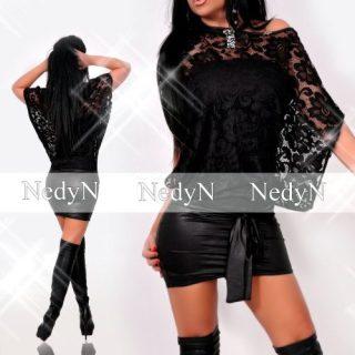 NedyN fekete csipkés kalapos ruha - alkalmi ruha