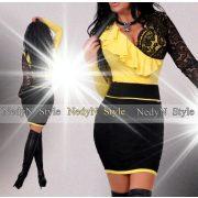 NedyN sárga átlapolt fodros női felső - szoknya nélkül