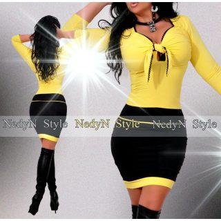 NedyN sárga mellénél megkötős női ruha