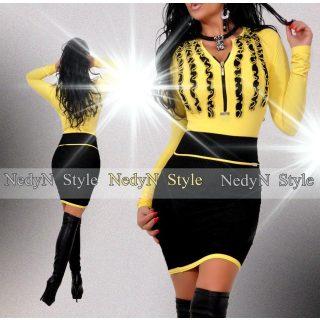 NedyN sárga zsabós 3 fodros  női felső - szoknya nélkül