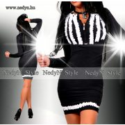 NedyN fodros mintás poliamid női ruha fekete fehér
