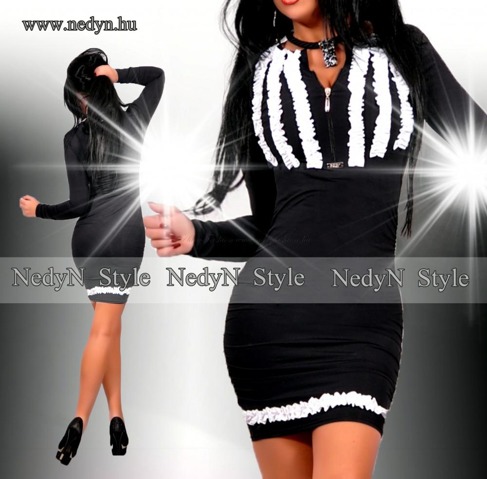 NedyN fodros mintás poliamid női ruha fekete fehér - AdryFashion női ... f11dc784cb