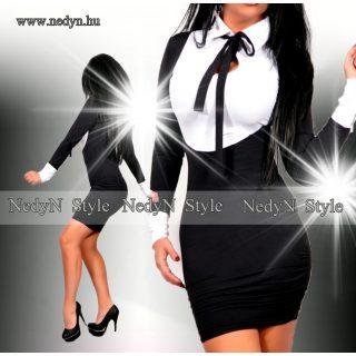 NedyN  fekete fehér nyakánál megkötős női ruha poliamid