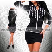 NedyN fodros fekete fehér  cipzáros poliamid női ruha fekete