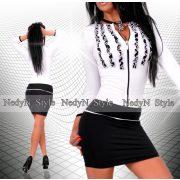NedyN fodros fekete fehér  cipzáros poliamid női ruha
