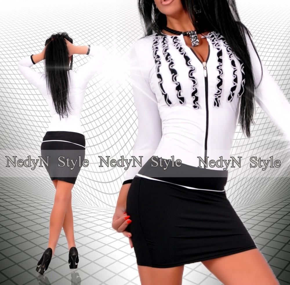 90934888afb5 NedyN fodros fekete fehér cipzáros női ruha - AdryFashion női ruha ...