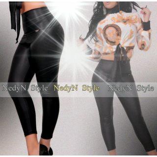 NedyN fekete bőrhatású boka legging