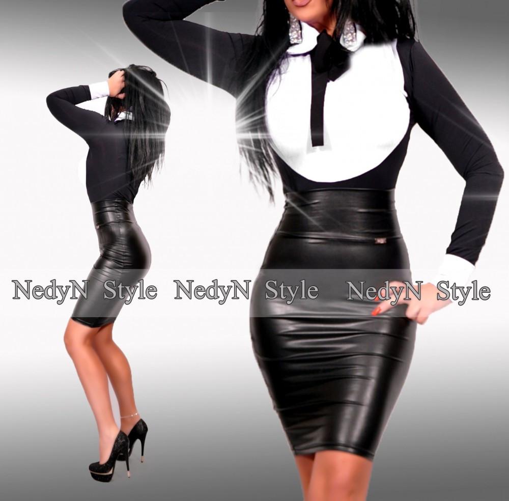 NedyN fekete fehér poliamid nyakánál megkötős női felső - szoknya nélkül 7c20b5139d