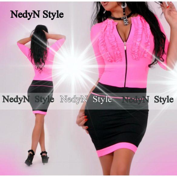 NedyN neon pink  2 fodros cipzáros női ruha
