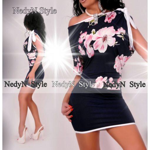 NedyN sötétkék pink virág mintás Pillke ruha