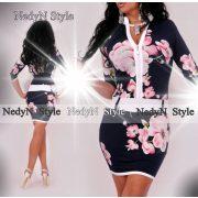 NedyN kék pink virág mintás cipzáros női ruha