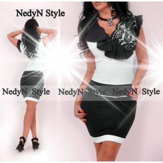 NedyN fekete fehér csipke díszes női ruha