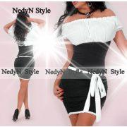 NedyN fekete fehér vállra húzható női ruha