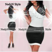 NedyN fekete fehér átlapolt csipke díszes női ruha