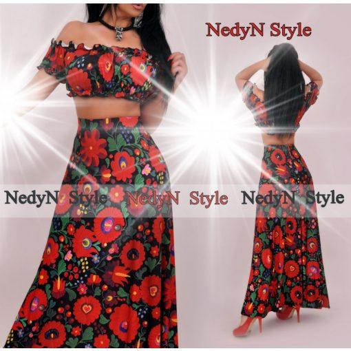 NedyN fekete virág mintás maxi szoknya és mini top szett