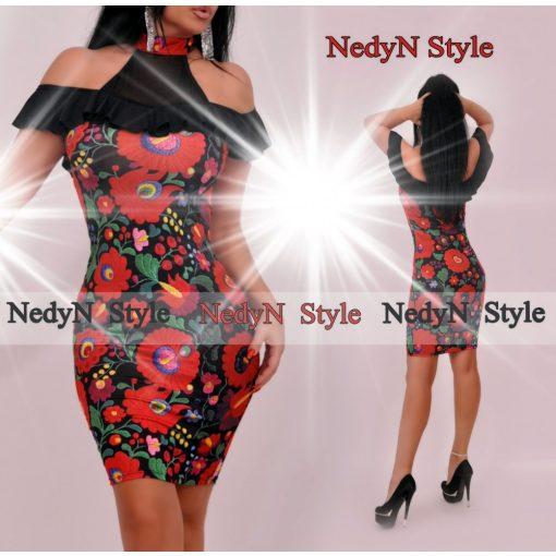 NedyN fekete virág mintás női ruha nyakánál patentos