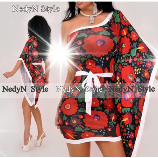 NedyN fekete virág mintás félvállas női ruha