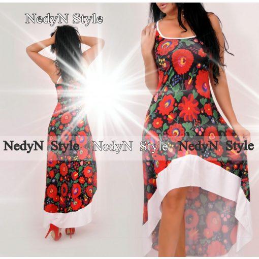 NedyN fekete virág mintás női ruha elöl rövidebb hátul hosszabb