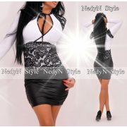 NedyN Fekete csipke díszes női alkalmi ruha nyakánál megkötős