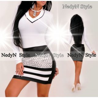 NedyN V kivágott női felső fekete csíkkal - szoknya nélkül