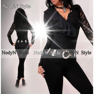 Nedyn fekete csipke  átlapolt fodros felső