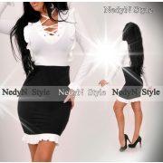 NedyN fehér fekete fűzős női  ruha