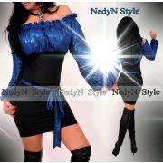 NedyN kék alkalmi csillogós mellén buggyos női ruha megkötővel